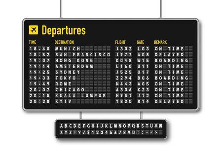 Tablero de salida y llegada, marcador de aerolínea, pantalla de solapa dividida mecánica. Sistema de visualización de información de vuelo en el aeropuerto. Alfabeto de estilo aeropuerto con números. Vector Ilustración de vector