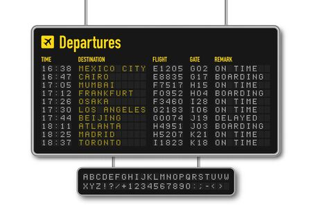 Departure and arrival board, airline scoreboard with digital led letters. Flight information display system in airport. Airport style alphabet with numbers. Vector