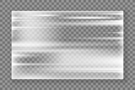 Plastic wrap texture. Realistic stretched plastic film on transparent background. Polyethylene wrap texture. Vector