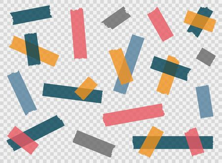 Adhesive tape, sticky paper stripes. Colorful stripes and pieces of duct paper, scotch or washi paper. Transparent duct tape in different shapes. Vector