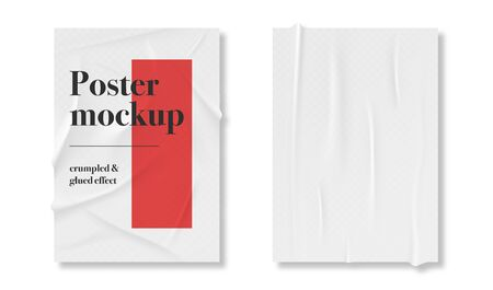 Poster paper with glue and crumpled texture. Realistic texture of paper with creases and crumple effect. Blank poster mockup, wrinkled paper. Vector