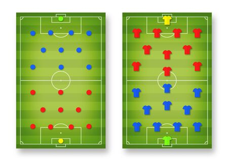 Football tactic board. Magnetic board with football field marking and magnetic pins and t-shirts, soccer tactic scheme, team strategy. Football playbook template. Vector