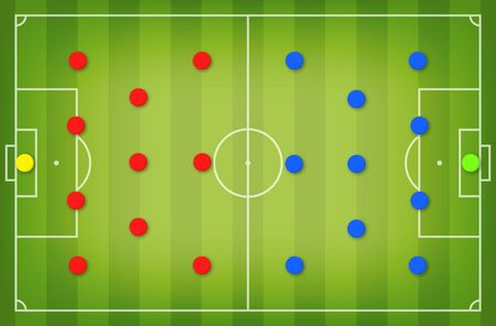 Football tactic board. Magnetic board with football field marking and magnetic pins, soccer tactic scheme, team strategy. Football playbook template. Vector