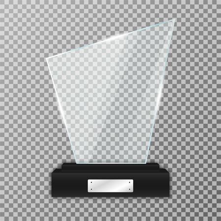 Glass trophy award on black stand. Realistic glass trophy with glares and light. Acrylic and glass texture. Vector
