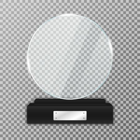 Glass trophy award on black stand. Realistic glass trophy in round shape with glares and light. Acrylic and glass texture. Vector