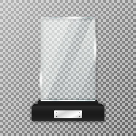 Glass trophy award on black stand. Realistic glass trophy in rectangle shape with glares and light. Acrylic and glass texture. Vector