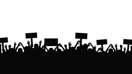Concept de protestation et de grève, de démonstration et de révolution. Silhouettes de foule de personnes aux mains levées et aux drapeaux. Manifestation politique et des droits de l'homme. Vecteur
