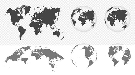 Set of transparent globes of Earth. World map template with continents. Realistic world map in globe shape with transparent texture and shadow. Abstract 3d globe icon. Vector Vector Illustration