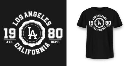 T-shirt graphic design in varsity style. Los Angeles California typography t shirt and apparel design. College style print on t-shirt mockup. Vector