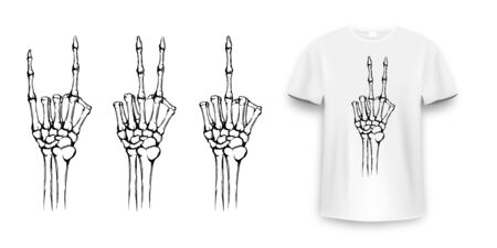 T-shirt design with skeleton hands. Vintage typography for tee print, skeleton hand with different gestures. Hand drawn human hands with bones fo tee print. Vector