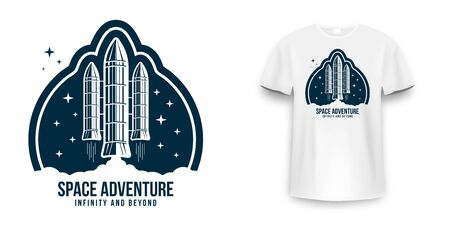 Space badge with spaceship, rocket launch. Vintage astronaut label, patch or embroidery for t-shirt print. T-shirt graphic in space concept. Vector Ilustração