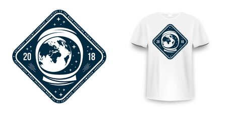 Space badge with astronaut helmet. Vintage astronaut label, patch or embroidery for t-shirt print. T-shirt graphic in space concept. Vector