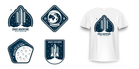 Space badge with spaceship, rocket launch and astronaut helmet. Vintage astronaut label, patch or embroidery for t-shirt print. T-shirt graphic in space concept. Vector