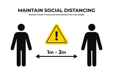 Maintain social distancing. Keep safe distance in public. Social distancing prevention to protect from coronavirus, covid-19 outbreak. Vector