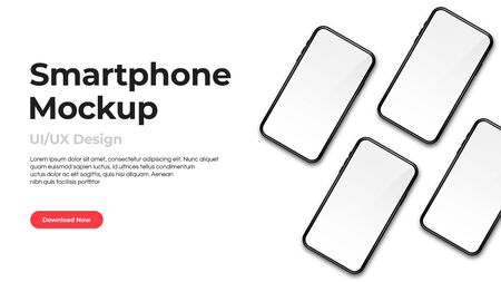 Realistic phone mockup. Set of modern phones with blank white displays. Smartphone design mockup in front view. Presentation and landing page template. Vector Ilustração