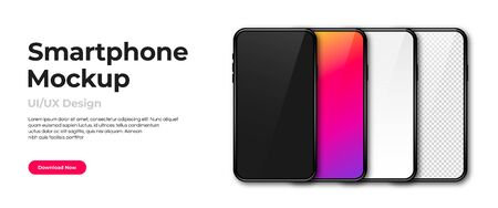 Realistic phone mockup. Set of modern phones with blank, colorful, black and transparent display. Smartphone design mockup in front view. Presentation and infographic templates. Vector