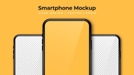 Realistic phone mockup. Set of modern phones with blank yellow and transparent display. Smartphone design mockup in front view. Presentation background template. Vector