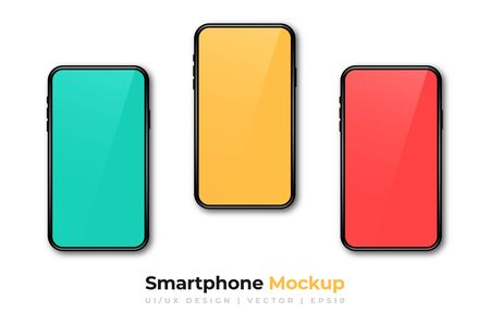 Realistic phone mockup. Set of modern phones with yellow, red and blue displays. Smartphone design mockup in front view. Presentation background template. Vector Ilustração