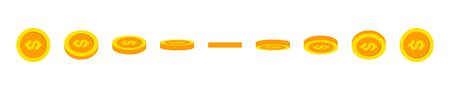 Gold coin animation effect. Rotating gold coin and dollar sign for animation. Golden coins in different shapes and angles. Vector