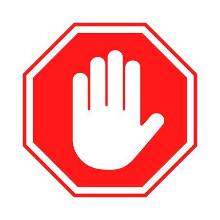 一時停止の標識。八角形の形をした人間の手を持つ赤い禁じられたサイン。手のジェスチャーを停止し、入力しないでください、危険。ベクトル