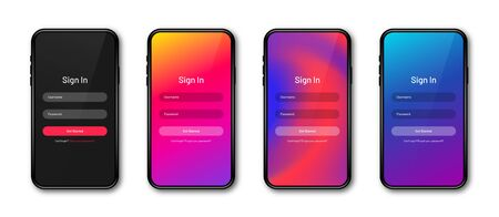 UI concept, login and sign in form page for mobile app. Realistic smartphone mockup and UI screen design. User login form. Vector