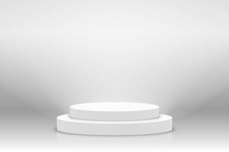 White 3d podium mockup in circle shape. Empty stage or pedestal mockup illuminated with spotlight. Podium or platform for award ceremony and product presentation. Vector Ilustração