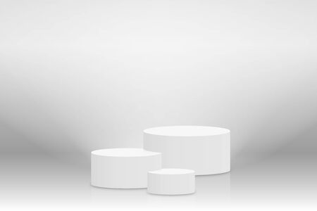 White 3d podium mockup in cylinder shape. Empty stage or pedestal mockup illuminated with spotlight. Podium or platform for award ceremony and product presentation. Vector