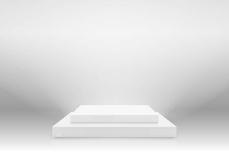 White 3d podium mockup in square shape. Empty stage or pedestal mockup illuminated with spotlight. Podium or platform for award ceremony and product presentation. Vector