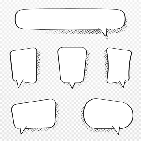 Set of comic speech bubbles. Blank comic bubbles with halftone effect in pop art style. Dialog and discussion, thinking and talking clouds. Vector Ilustração