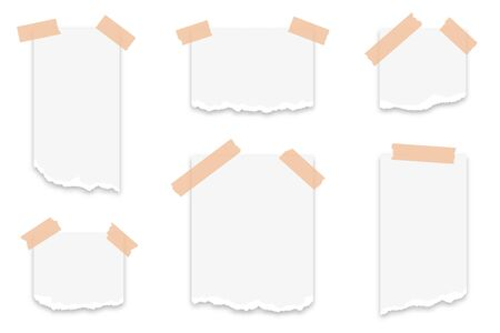 Torn paper scraps attached with adhesive tape. Set of torn paper strips with ripped edges. White paper scraps, sticky ripped notes. Vector