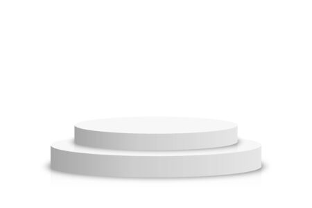 White 3d podium mockup in circle shape. Empty stage or pedestal mockup isolated on white background. Podium or platform for award ceremony and product presentation. Vector