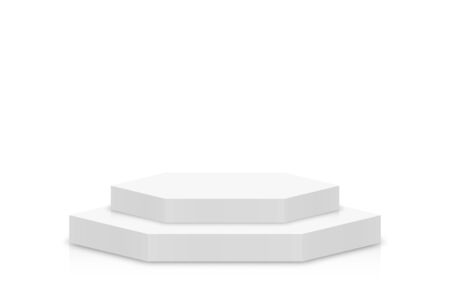 White 3d podium mockup in hexagon shape. Empty stage or pedestal mockup isolated on white background. Podium or platform for award ceremony and product presentation. Vector