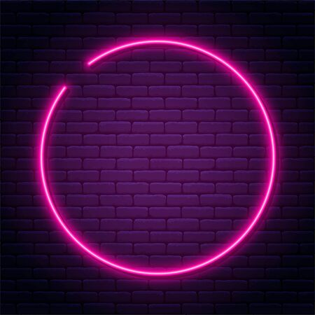 Neon sign in circle shape. Bright neon light, illuminated round frame. Glowing purple neon tube on dark background. Signboard or banner template in 80s and 90s style. Vector Ilustração