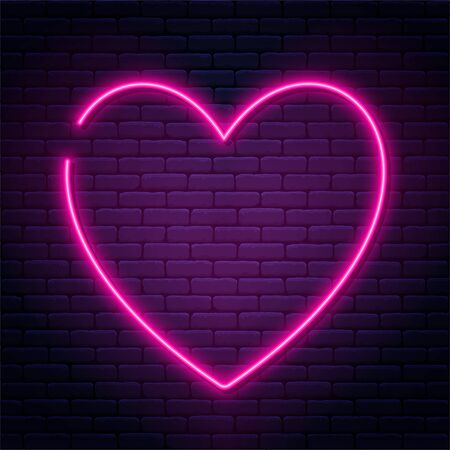 Neon sign in heart shape. Glowing neon heart on brick wall background. Neon signboard, love concept. Vector Ilustração