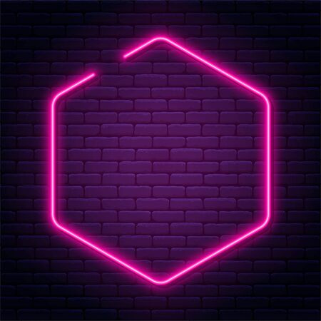 Neon sign in octagon shape. Bright neon light, illuminated octagon frame. Glowing purple neon tube on dark background. Signboard or banner template in 80s and 90s style. Vector