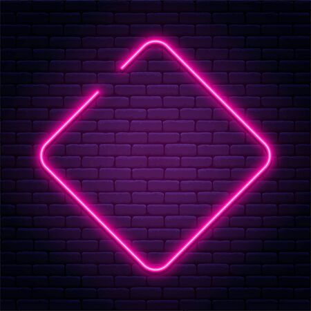 Neon sign in rhombus shape. Bright neon light, illuminated rhombus frame. Glowing purple neon tube on dark background. Signboard or banner template in 80s and 90s style. Vector