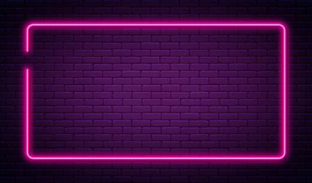 Neon sign in rectangle shape. Bright neon light, illuminated rectangle frame. Glowing purple neon tube on dark background. Signboard or banner template in 80s and 90s style. Vector Ilustração