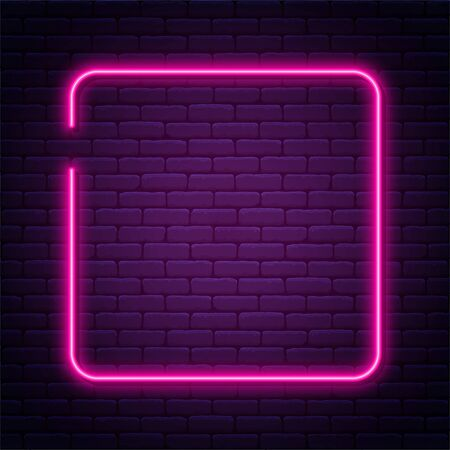 Neon sign in square shape. Bright neon light, illuminated square frame. Glowing purple neon tube on dark background. Signboard or banner template in 80s and 90s style. Vector Ilustração