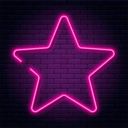 Neon sign in star shape. Bright neon light, illuminated star frame. Glowing purple neon tube on dark background. Signboard or banner template in 80s and 90s style. Vector