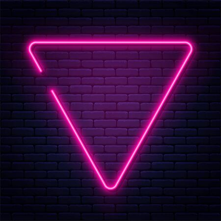 Neon sign in triangle shape. Bright neon light, illuminated triangle frame. Glowing purple neon tube on dark background. Signboard or banner template in 80s and 90s style. Vector