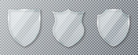 Glass shield. Set of transparent glass shields and acrylic panels. Conceptual symbol of protection, safety, security and guarding. Transparent glass shields isolated on background. Vector