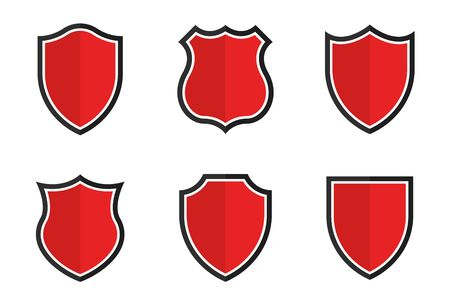 Set of shields in different shapes. Conceptual symbol of protection, safety, security and guarding. Red shields isolated on background. Vector Ilustrace