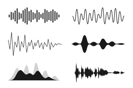 Set of sound waves. Analog and digital line waveforms. Musical sound waves, equalizer and recording concept. Electronic sound signal, voice recording. Vector  イラスト・ベクター素材