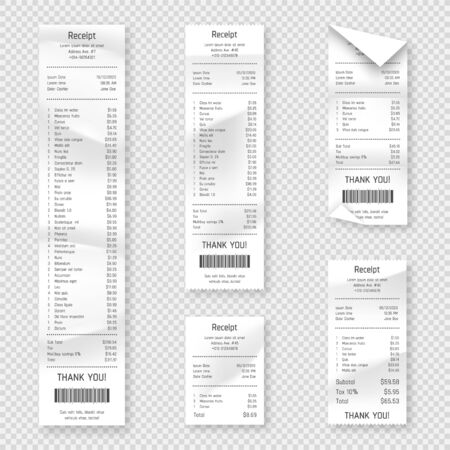 Set of paper receipts isolated on background. Realistic paper receipt, check and payment bill printed on rolled and curved thermal paper. Vector receipt and purchase bill Ilustrace