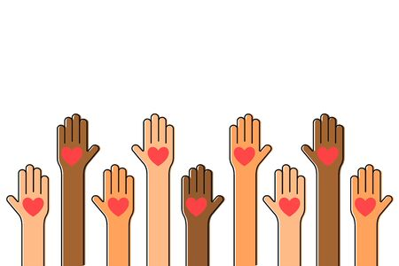Charity, volunteering and donating concept. Raised up human hands with red hearts. Children's hands are holding heart symbols. Vector