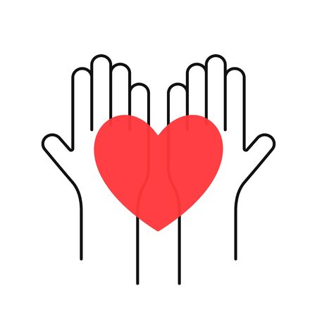 Charity, volunteering and donating concept. Raised up human hands with red heart. Children's hands are holding heart symbols. Ilustrace