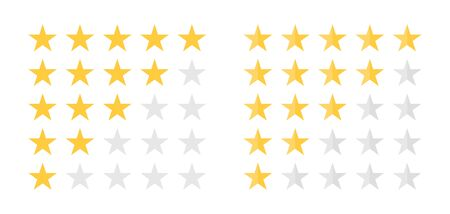 Feedback, customer satisfaction and review concept. Five star rating. Golden and grey stars, rating scale for survey, mark quality, customer feedback and satisfaction. Vector