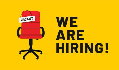 We are hiring, open vacancy. Hiring and recruitment banner design. Vacant position, join our team. Business hiring and recruiting concept. Vector Ilustrace