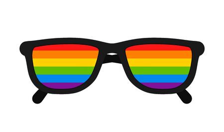 LGBT flag in sunglasses. LGBT pride flag of gay and lesbian, bisexual and transgender. Human rights, sex orientation and tolerance concept. Sunglasses with rainbow colors. Vector Vettoriali