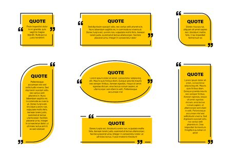Quote text box, quote frame with space for text. Set of quotation bubbles. Abstract texting box templates, message border and quote frames with yellow background. Vector